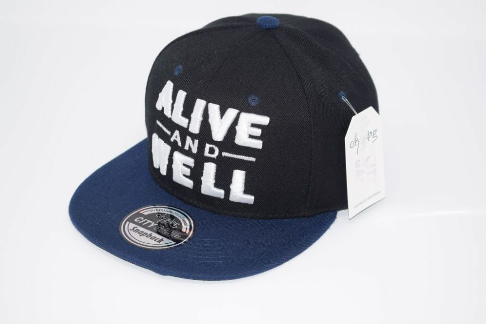 C4885- 'ALIVE AND WELL' Black/Navy Snapback Cap one size fits all adjustable